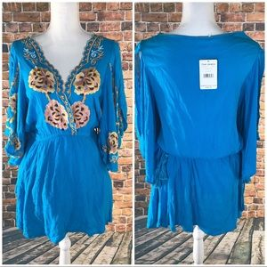 NWT Free people turquoise Cora embroidered dress